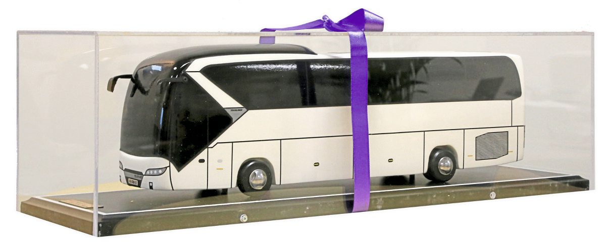 Hawkes Tours were presented with a large scale model of a Tourliner, made by apprentices in Ankara