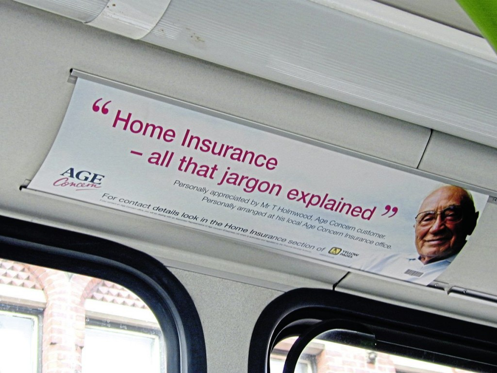 Interior advertising can also be sold by the company, as shown here with this Headliner ad