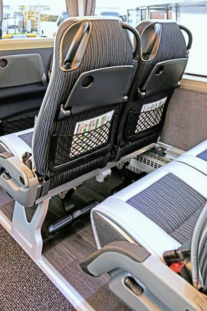 The Kiel Avance 1020 seats feature tables, magazine nets, footrests and USB sockets