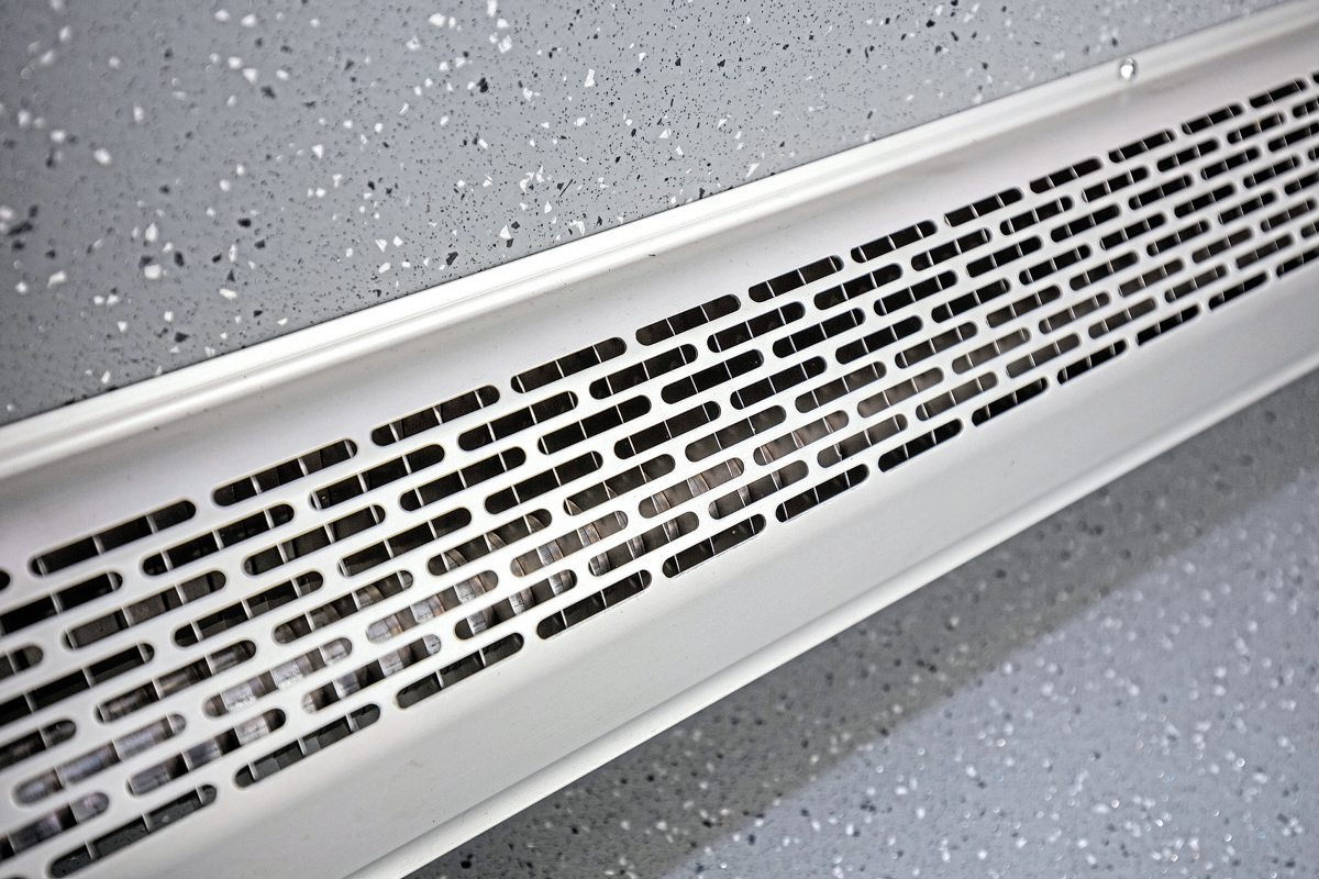 Convector heaters are employed instead of blowers