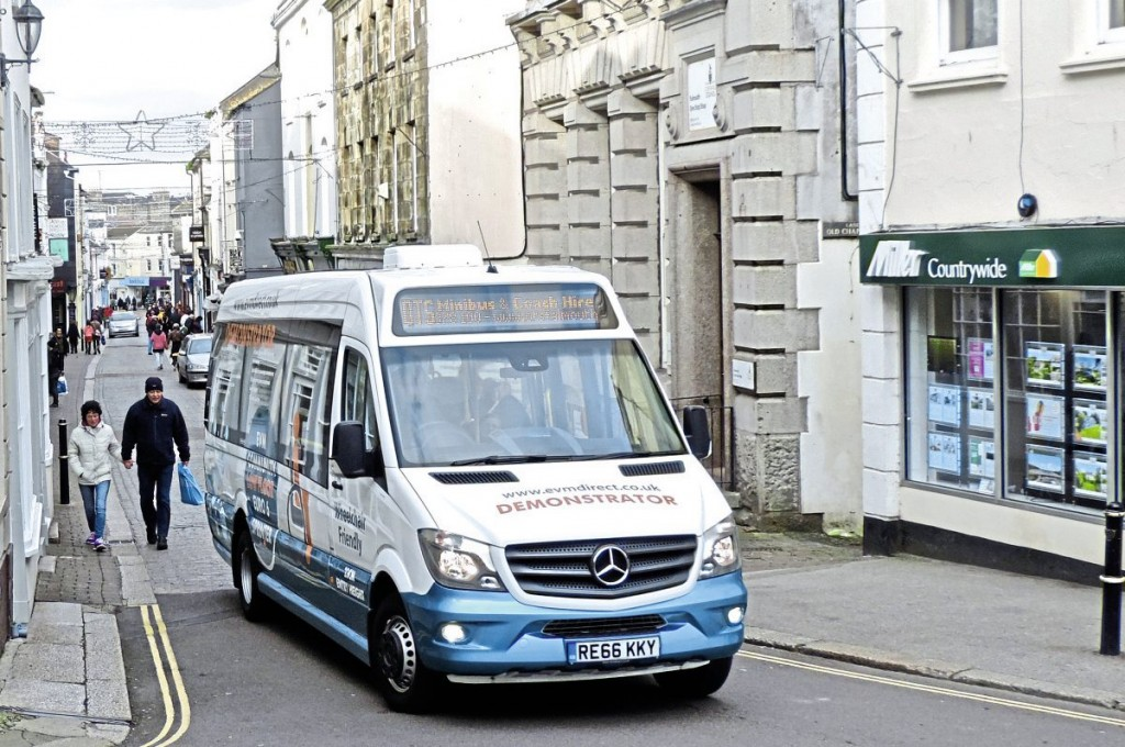 One of the advantages of the EVM lowfloor Sprinter is its ability to navigate tight streets easier than larger vehicles