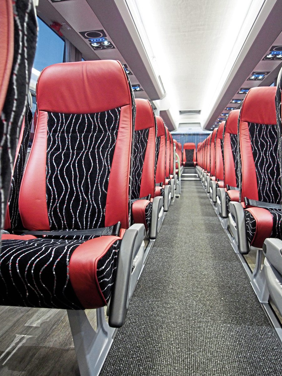 Interior of the new Sharpes Van Hool EX16M
