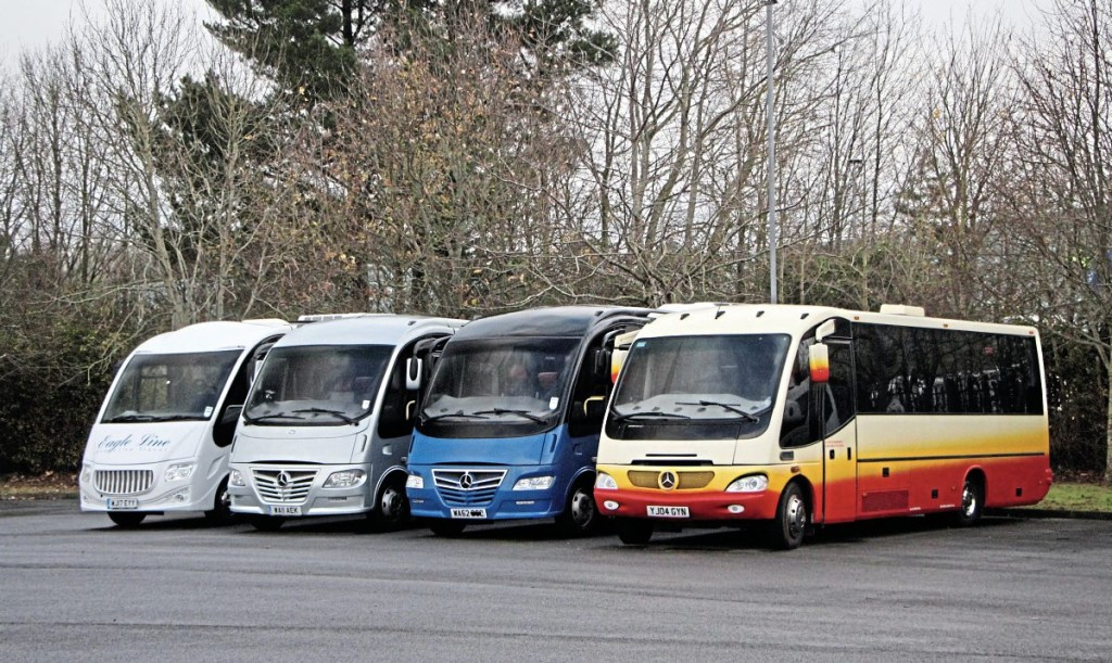Used midicoach stock includes these three Sitcar Beluga bodied Mercedes-Benz Varios. The Sitcar Voyager on the left is a customer vehicle