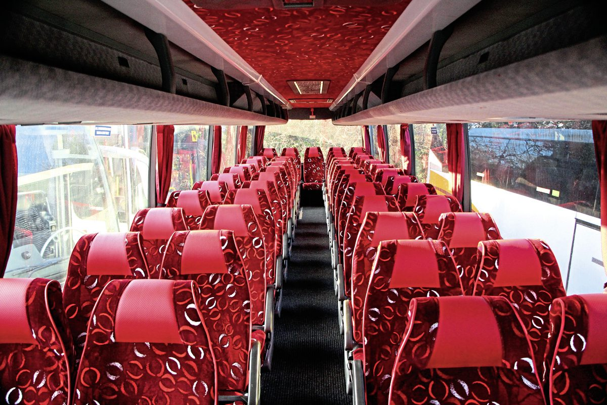 The re-trimmed interior of a 1999 Van Hool T9 Volvo B10M new to Armchair