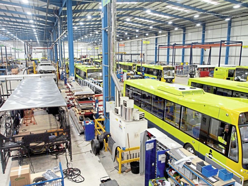 Dominating the manufacturer's factory floor at the moment are the green Tranzit Metrocitys for New Zealand