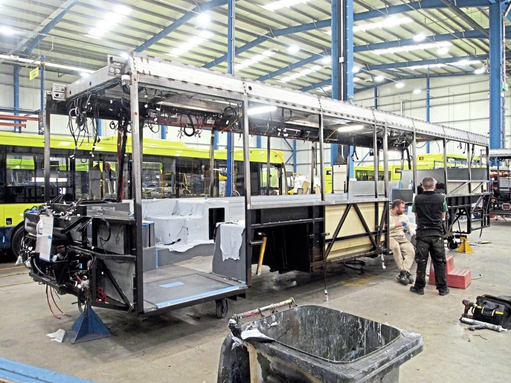 Structural work taking place during the early stages of manufacture