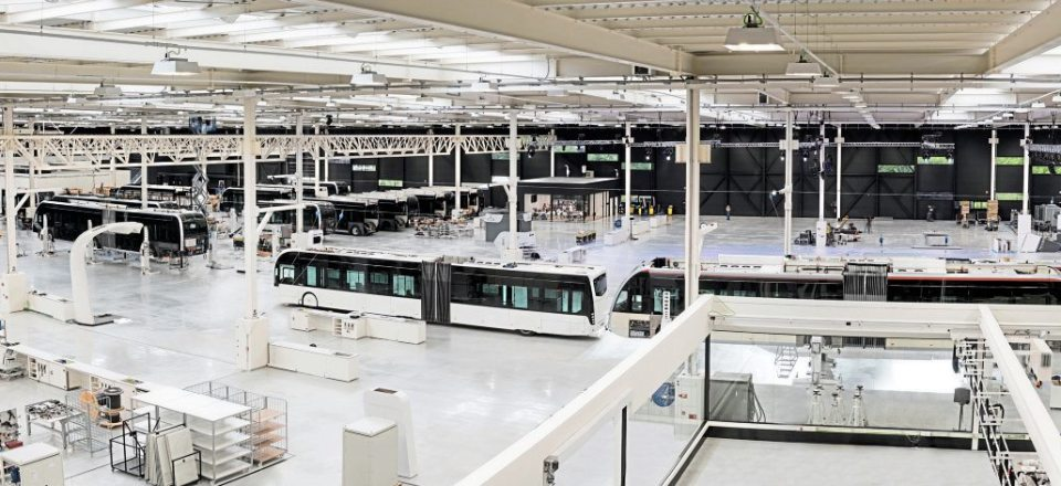 A panoramic view of the factory interior from the windows of the offices