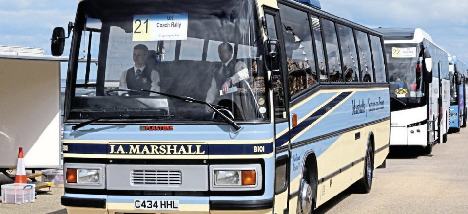 Marshalls' entry into the UK Coach Rally at Blackpool, its Bedford YNT Plaxton