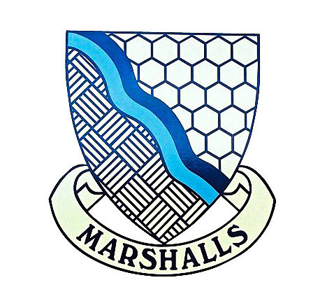 The Marshall family has been based on the site it currently inhabits for around 200 years. It was previously involved in basket making and bee keeping, hence the wickerwork and honeycomb design on the company's crest. The blue line represents the river Trent, which runs by the back of the operator's yard