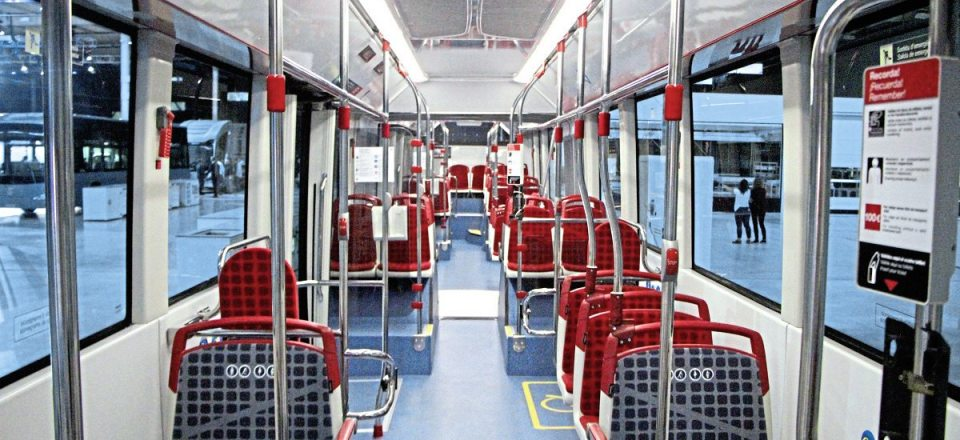 The interior of an ieTram for TMB Barcelona