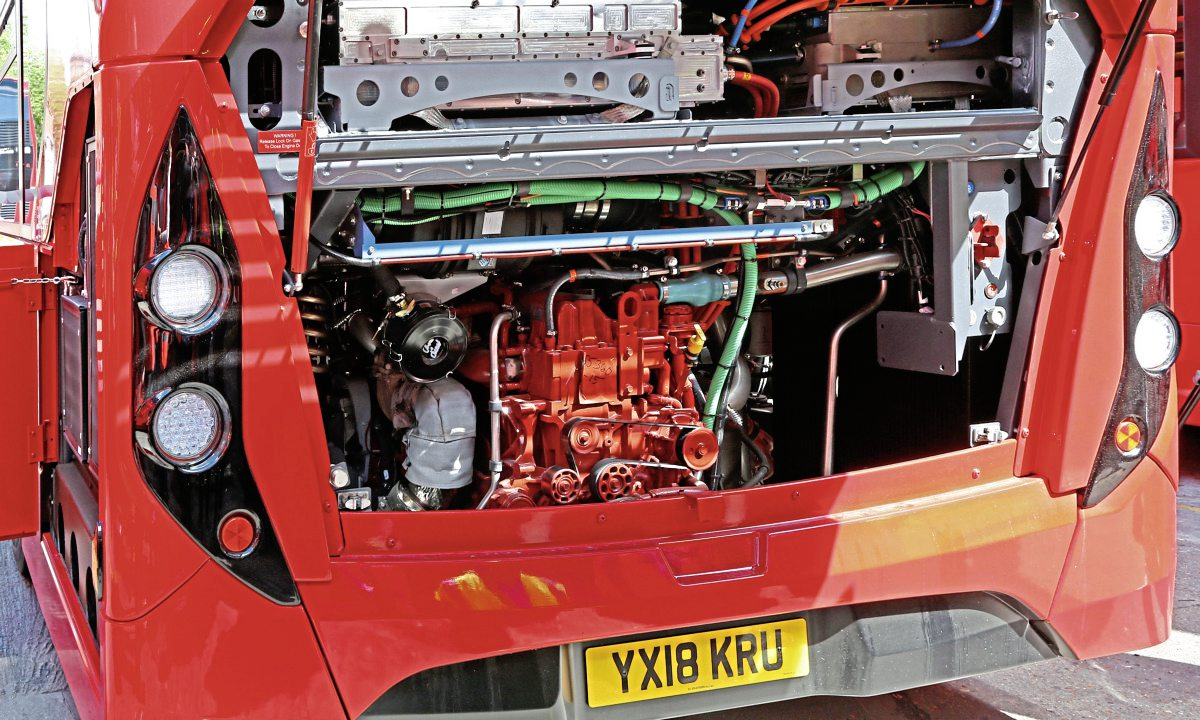 The tray above the Cummins Euro VI engine carries the ultra-capacitor pack (left) and controller (right)