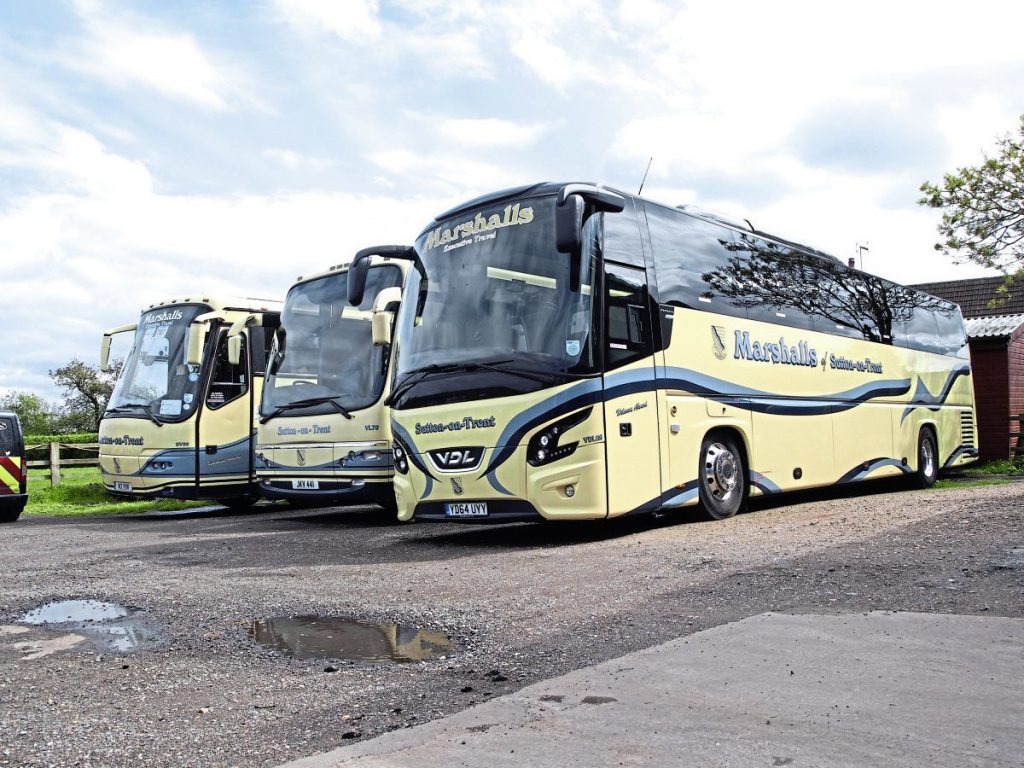 VDL Futuras and Plaxton bodied coaches are prominent in the coach side of the operation