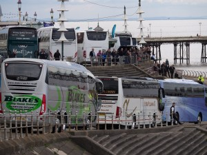 Coaches queue for the driving test