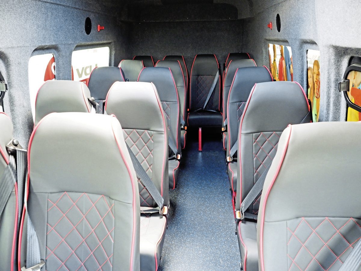 A blanked rear version and windowed version were shown, both with heavily lined interiors completed by Euro Coach Builders -img1