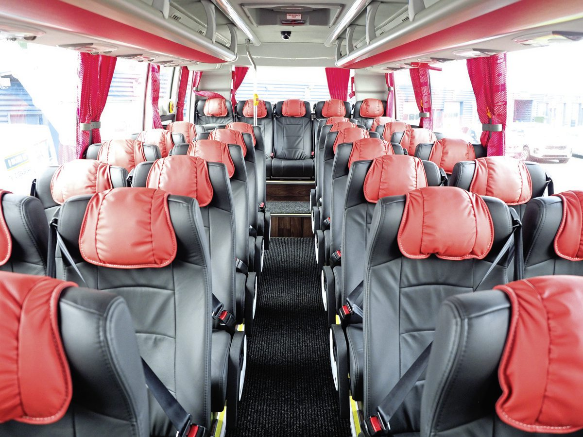 Full leather seats with removable, contrasting headrests are standard