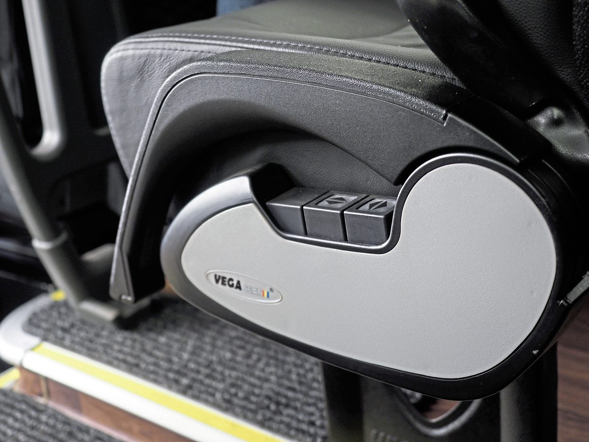 The Vega seats can be side-shifted and reclined.