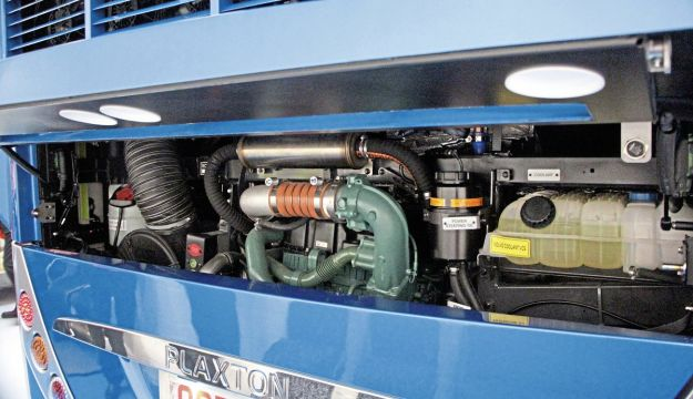 Volvo's D11K engine rated at 460hp is standard on the B11RLE6x2 chassis