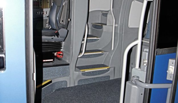 Access to both decks through the front entrance is the most straightforward I have seen on a double-deck coach