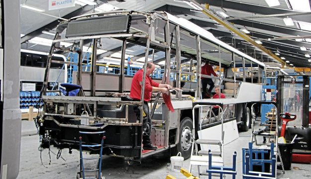 The distinctive body shape is starting to be discernable in this picture taken on the Scarborough coach production line