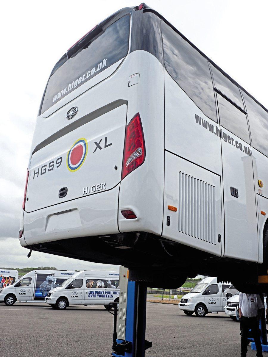 Operators got to examine the anti-corrosion work under the coach thanks to a four-post lift