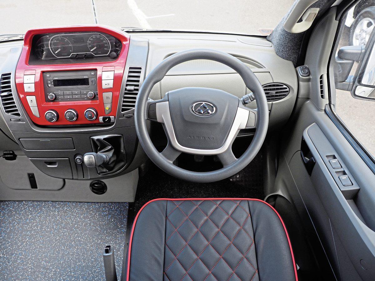 Striking dash of the LDV V80-based Mini B series of minibuses includes a colour-coded binnacle