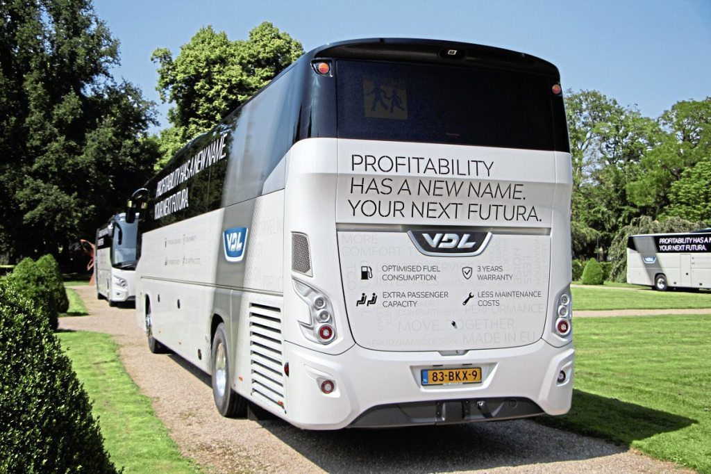 The only external indication that the coach has the new driveline is the engine grille on the opposite side