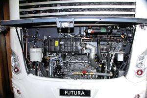 The standard engine option in the Futura FDD2 double deck is the MX13-390 rated at 530hp:390kW though the 450hp MX11 can be specified. The big MX can deliver 2,600Nm