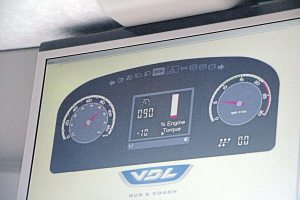 VDL provided a special display on the monitors showing passengers the readings the driver could see