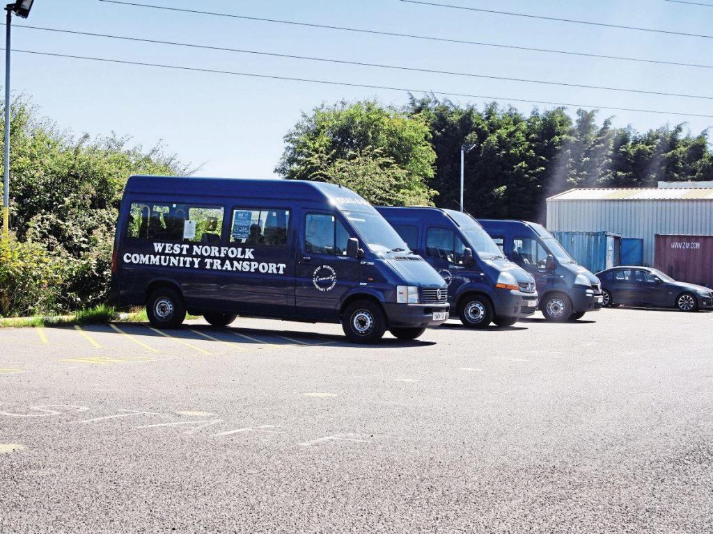 Three of West Norfolk Community Transport Project's mixed fleet of minibuses for its community transport operations