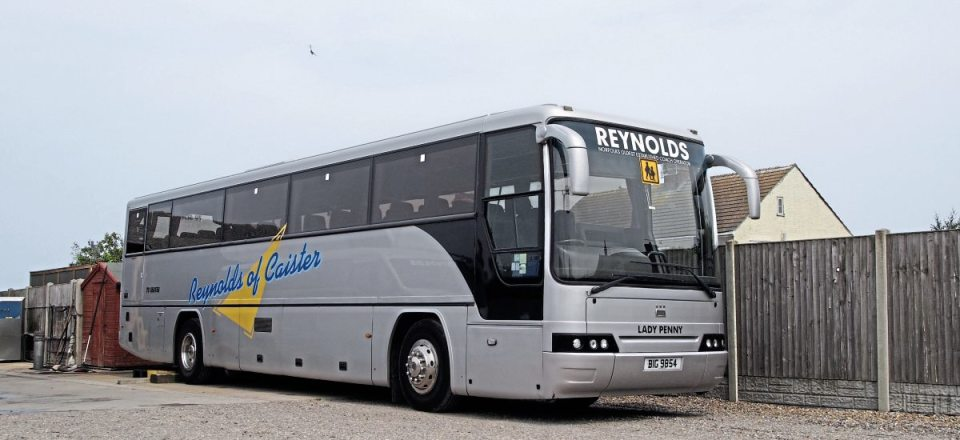 Dennis Javelins are predominant in the Reynolds fleet. This one has a Plaxton Premiere body