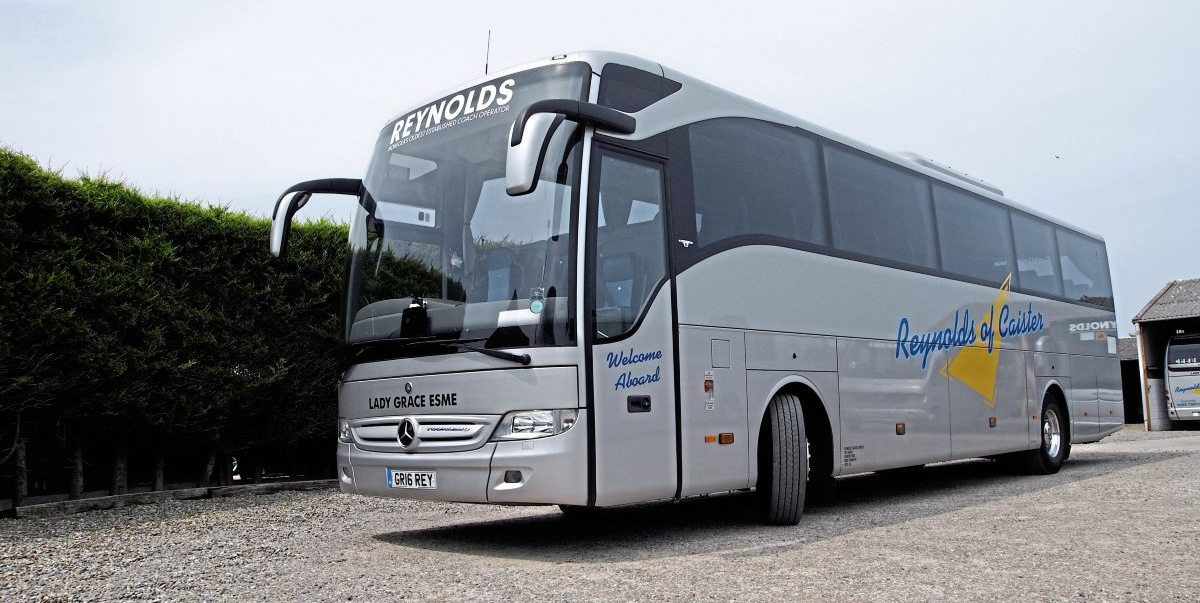The newest coach in Reynolds' fleet is this Mercedes-Benz Tourismo