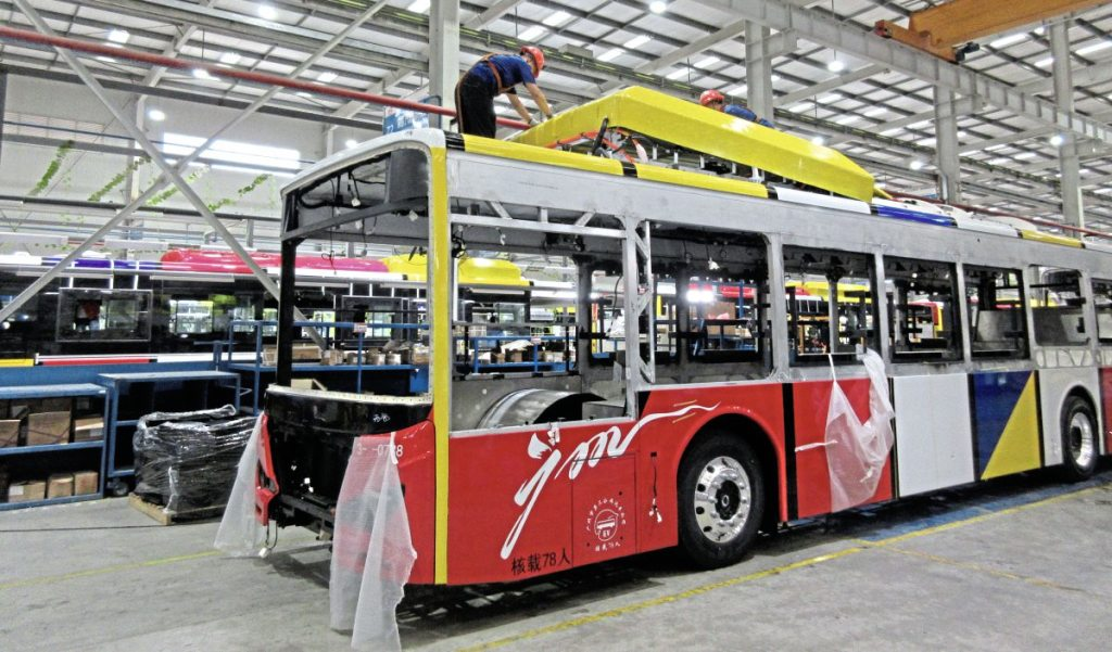 bus under construction inside the Shanwei factory