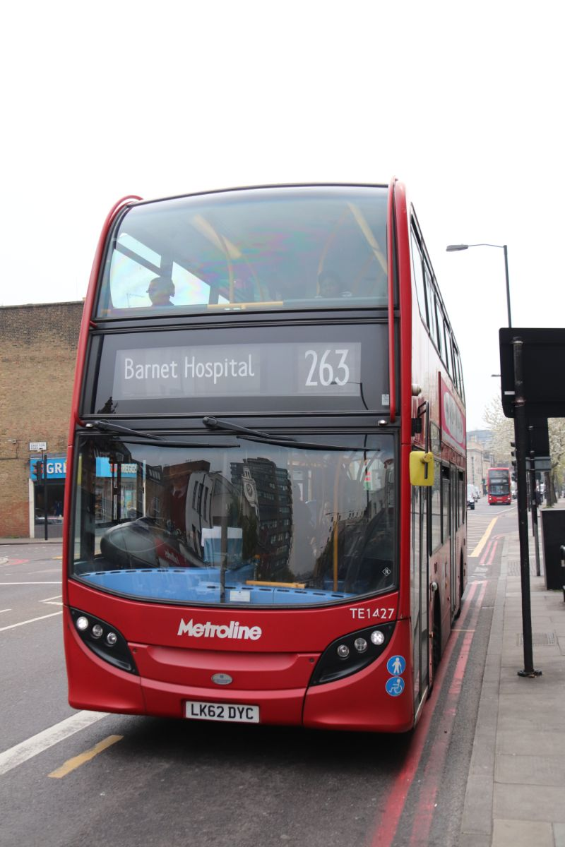 The first of a succession of Metroline buses we encountered was this Enviro 400 on the 263