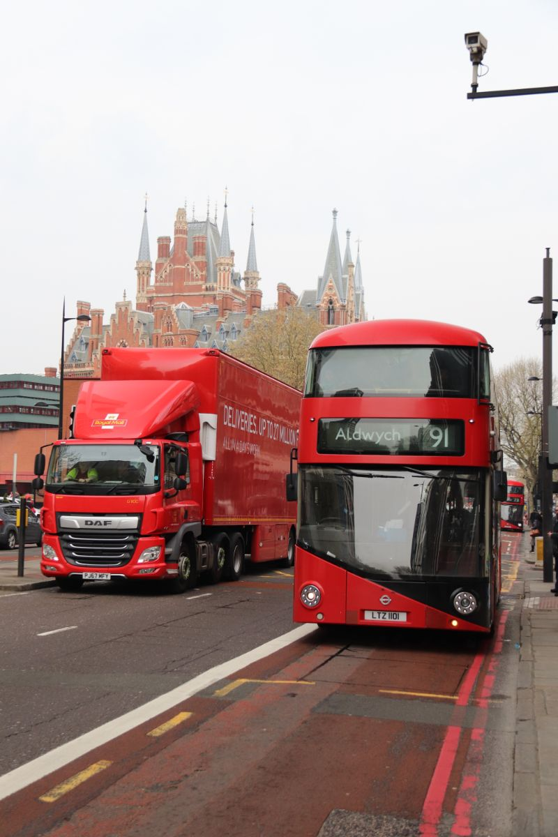 We had to wait a while for it and walk past two closed stops but when it arrived our mount for the 91 was the only Wright Borismaster we travelled on all day. St Pancras can be seen in the background