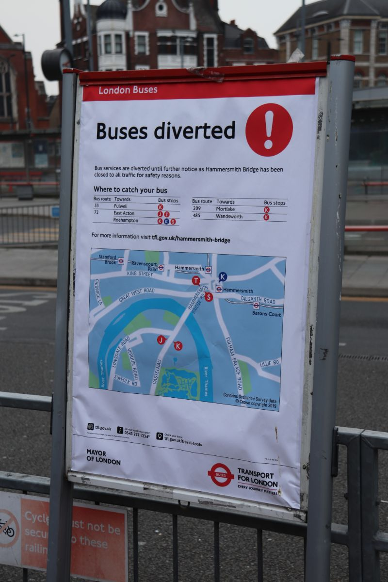 Instructions provided on where to catch diverted buses in Hammersmith bus station
