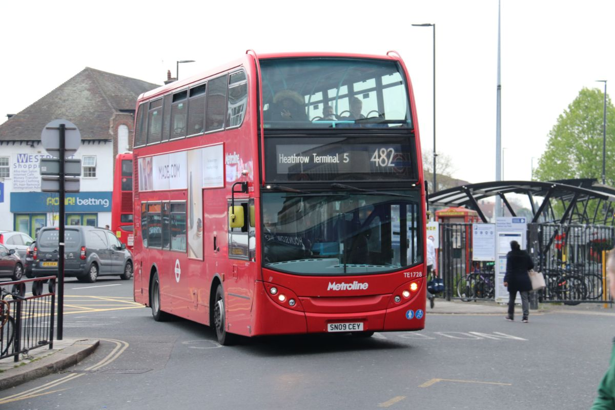 Our Metroline ADL Enviro 400 arrives at Hounslow Central on the 482