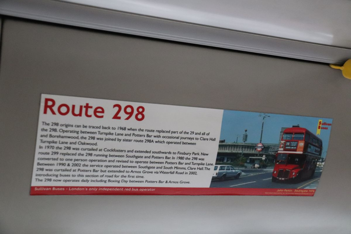 Posters on Sullivan Buses vehicles tell the history of local routes