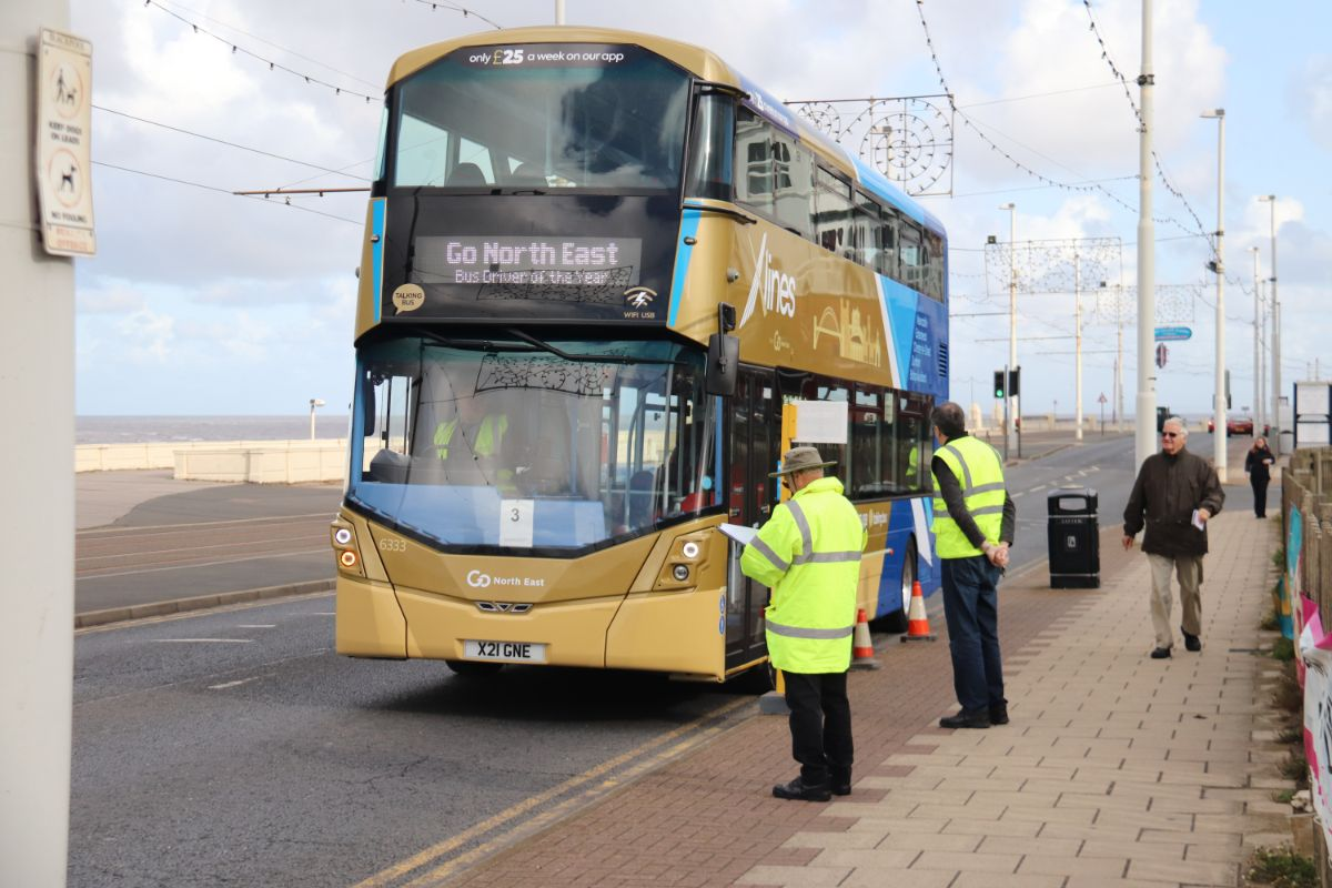 Driver number three this year was Jonathan Wood of National Express who undertook his driving test in a Wright Streetdeck from the Go North East fleet
