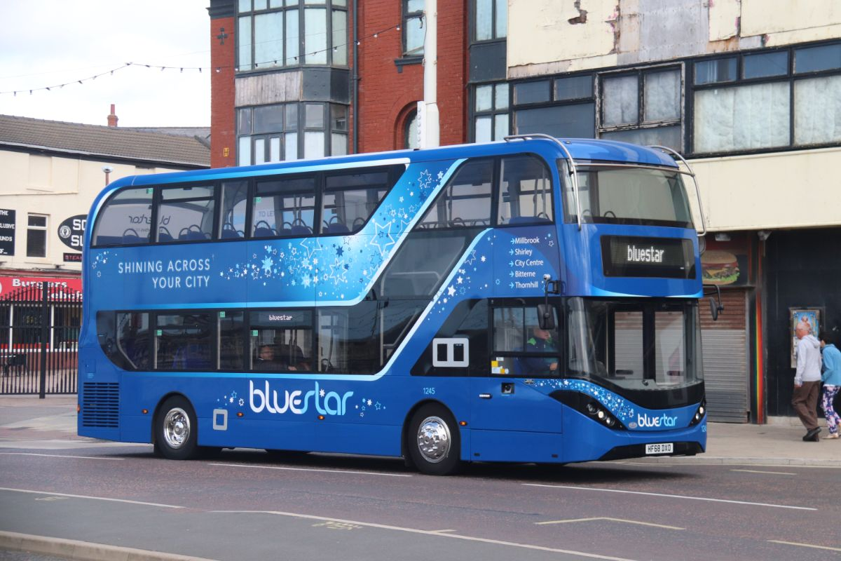 The ADL Enviro400 City of Bluestar which won the award for the best bus under one year old sets off on the long journey back to the South Coast