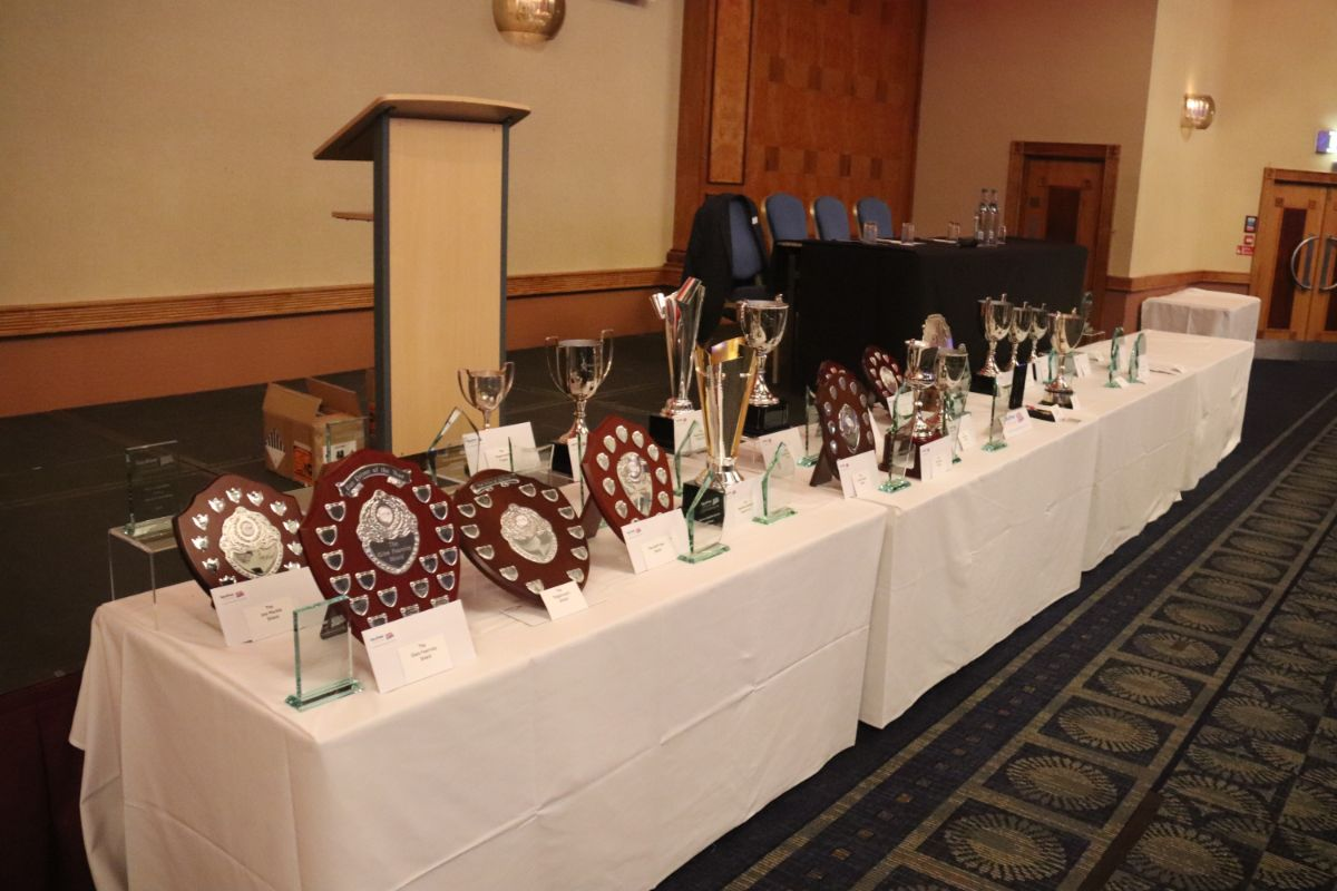 The many trophies laid out prior to being awarded