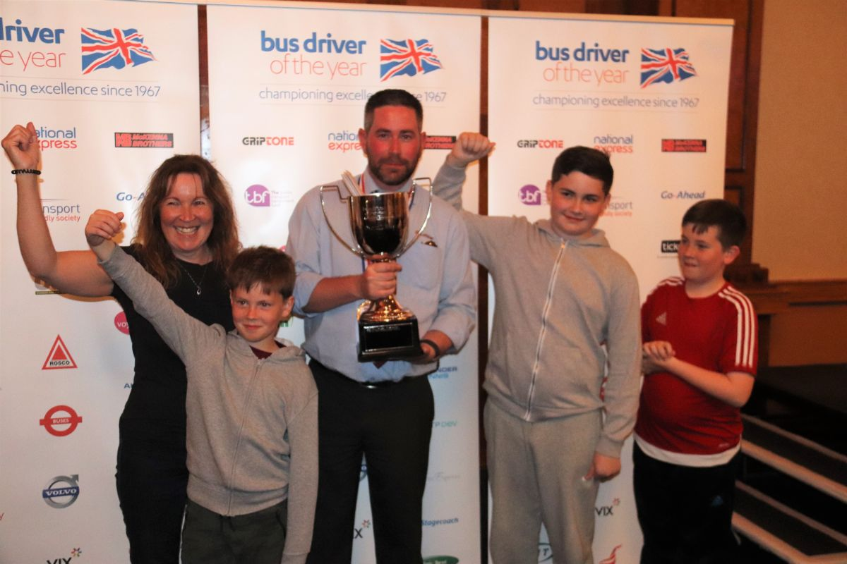 Bus Driver of the Year 2019 is Adam Stitt of Lothian Buses, shown here with his family
