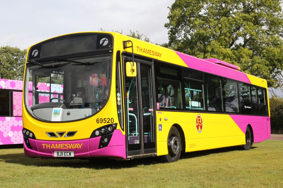 Possibly the most vivid livery at Showbus, First have applied retro Thamesway colours to a 2011 Essex based Volvo B7RLE