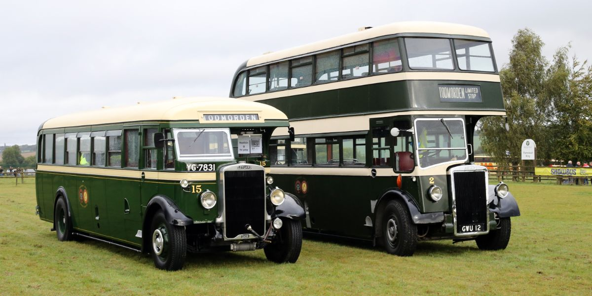 Judged the top heritage vehicle overall, Mike Sutcliffe's Todmorden Leyland Tiger alongside the Todmorden Leyland PD2 that took the pre 1950 vehicle award
