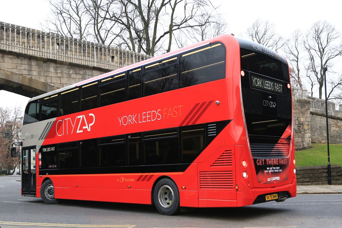 With a backdrop of York's City Walls, the rear of the Cityzap Enviro400 MMC emphasises the fast nature of the service