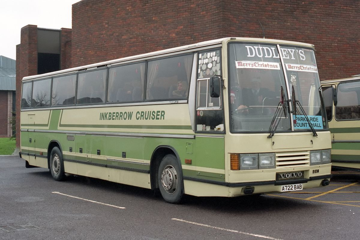 The first new heavyweight bought was this Volvo B10M Duple Caribbean purchased from W.S.Yeates in 1984. It was the first Dudley's coach to carry a local name and for many years wore a metallic blue livery