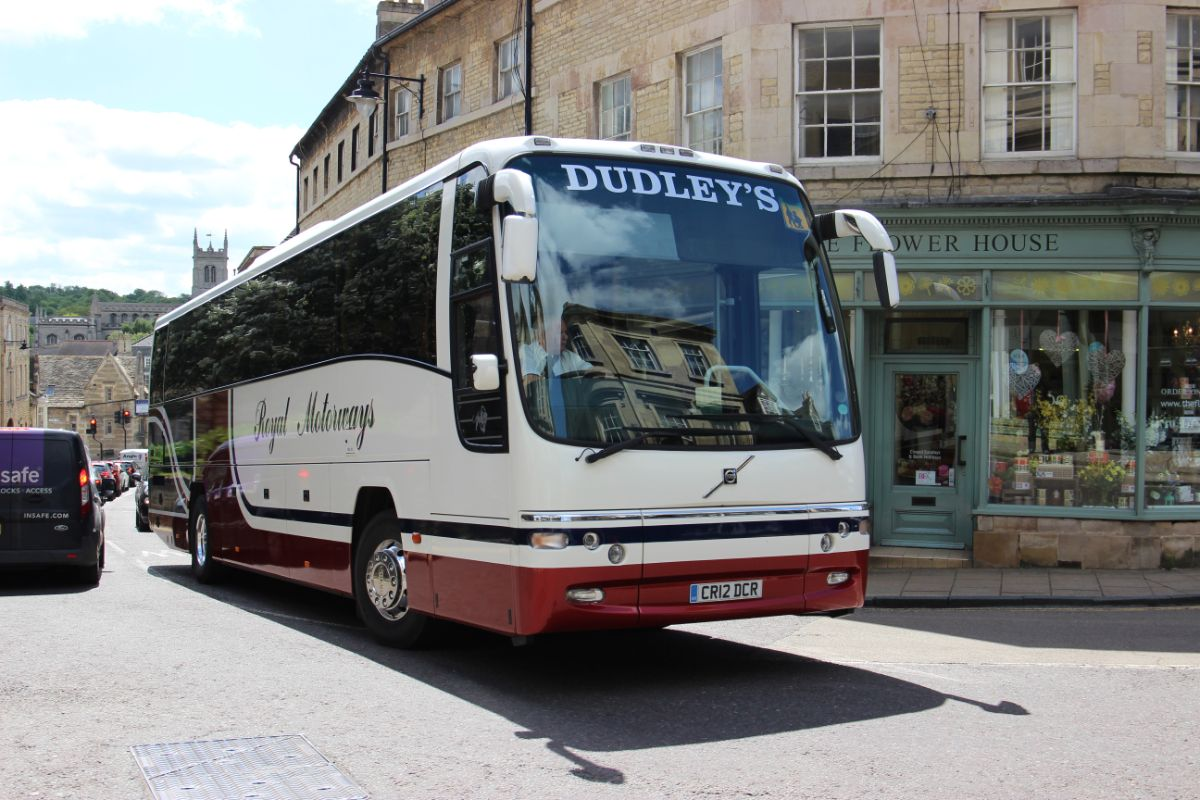 Seen passing through Stamford in June 2017 is the newest coach in Dudley's fleet, a Volvo B9R Plaxton Panther in the colours of Royal Motorways. This was the last coach bought new