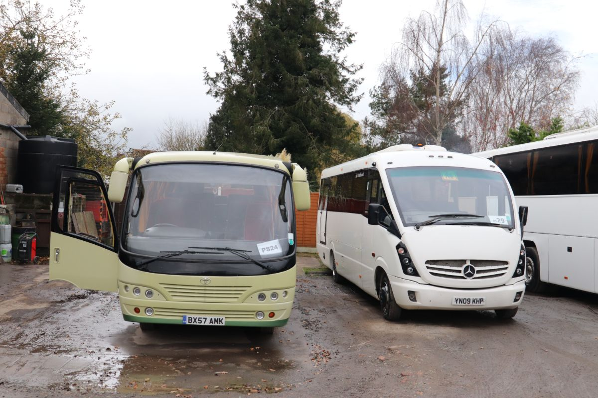 Smaller members of the fleet are a 22-seat Toyota Optimo and a 29-seat Mercedes-Benz Plaxton Cheetah, the latter one of only two acquisitions since 2012 which has never received the two tone green livery