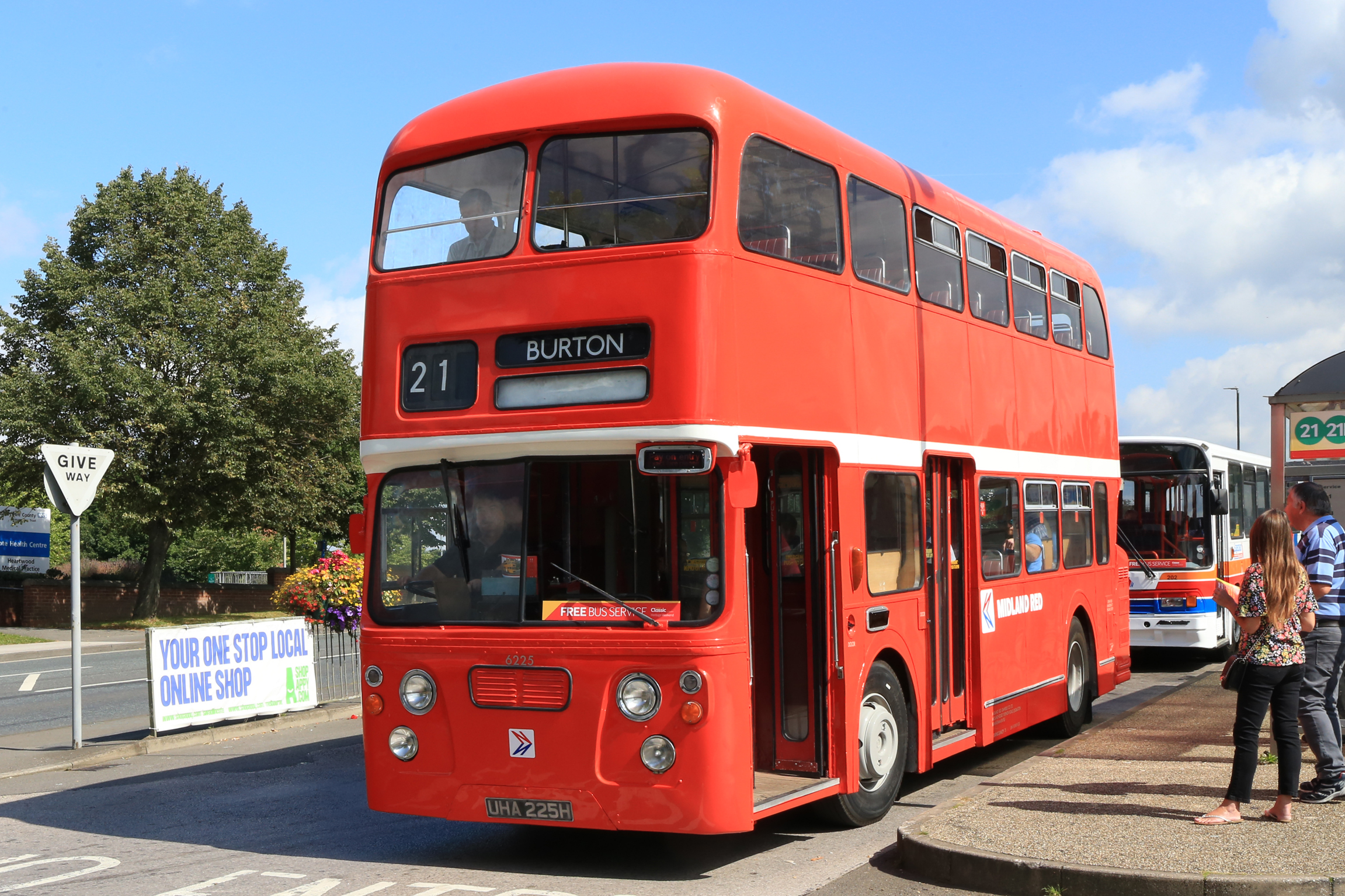 This Daimler Fleetline restored in NBC poppy red and seen in Swadlincote bus station was one of the last double-deckers ordered by Swadlincote's Midland Red before it split into six parts