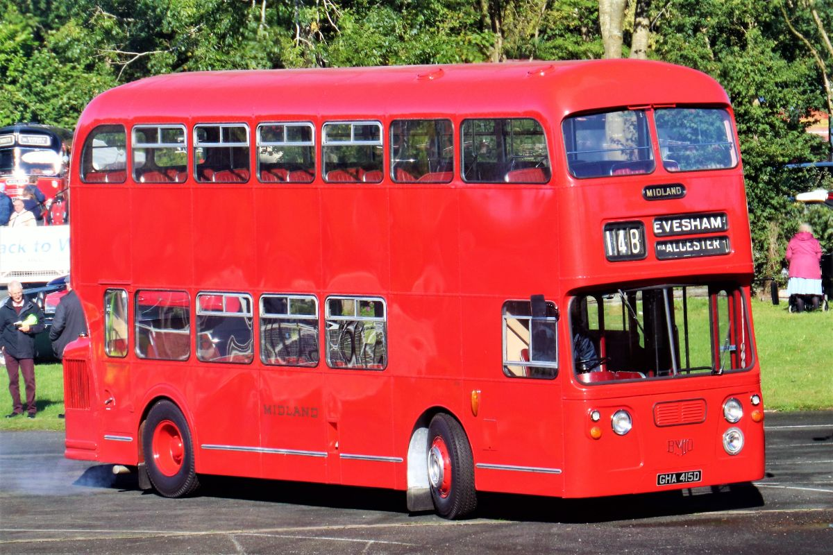 Debuting after a major restoration was the 1966 Midland Red D12 Daimler Fleetline Alexander. For a while the company took Fleetlines as well as its own half cab D9s before standardising on the Fleetline for double deckers